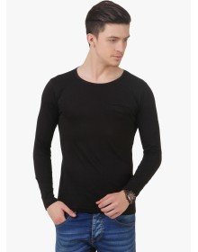 Black Solid Round Neck T-Shirt by Frost