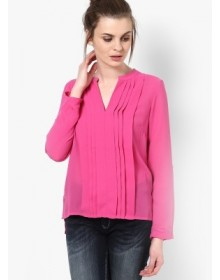 Vero Moda Pink Chinese Collar Top