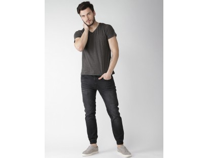Solid V-Neck Grey Tee-TW