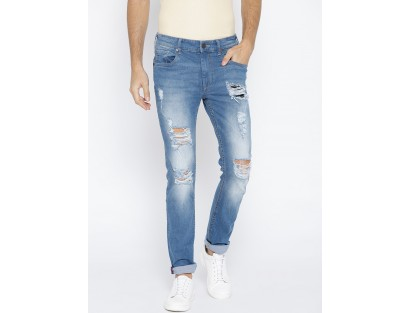 Blue Distressed Jeans-TW