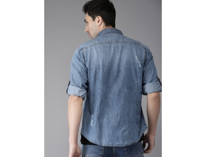 Ripped Denim Shirt-TW(Smilar style)