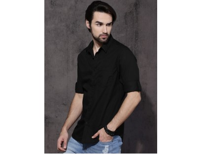 Stylist Approved Black Regular Fit Solid Casual Shirt
