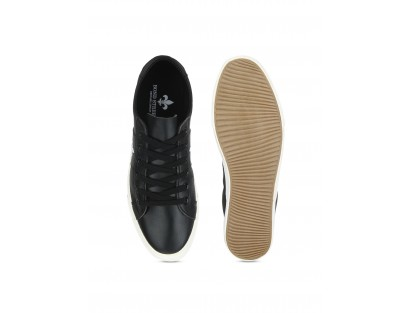 CMR Black Leather Sneakers with White Sole