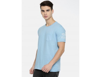Blue Solid Casual T-Shirt-MM