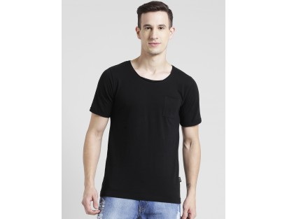 Solid Black Scoop Neck T-Shirt-MM