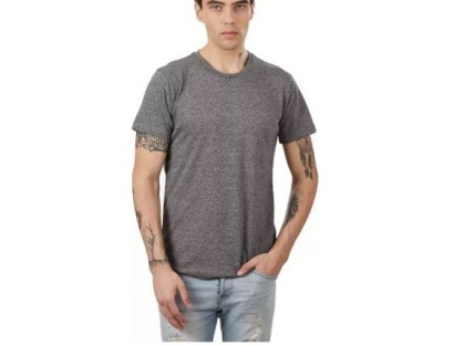 Grey Self-Design T-shirt-MM