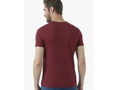 Burgundy Round Neck T-Shirt-MM