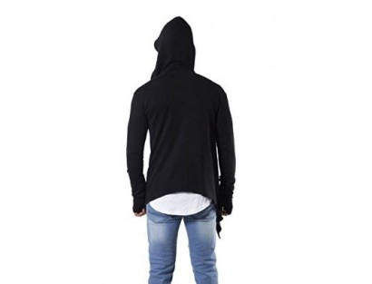 Black Hooded Cardigan-MM